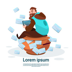 Man Using Tablet Computer Send Message Internet Texting Chat Communication Flat Vector Illustration