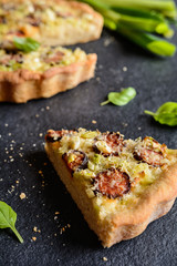 Savory sausage pie with green onion and cheese