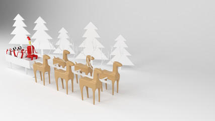 Santa Claus With Reindeer And Sleigh, Santa Sledge Full Of Gifts, White Background, 3D Illustration