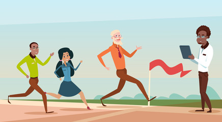 Mix Race Business People Group Run To Finish Line Team Leader Competition Flat Vector Illustration