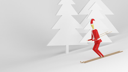 Santa Claus Skis Down The Hill, White Background, 3D Illustration