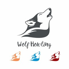 Wolf Howling Simple Logo Design