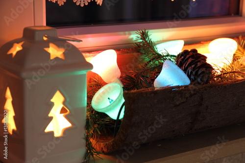 weihnachtsschmuck im fenster stock photo and royalty. Black Bedroom Furniture Sets. Home Design Ideas