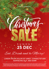 Christmas Sale gold and red poster for discount promo offer