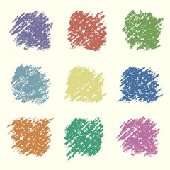 Set of retro colored wax crayon square design elements. Pastel chalks hand drawing vector background. Kids hand painting pencil texture.