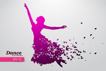 Silhouette of a dancing girl. Dancer woman.
