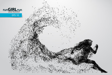 Silhouette of a running woman from particles.