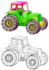 Colorful and black and white pattern of tractor, vector cartoon image.