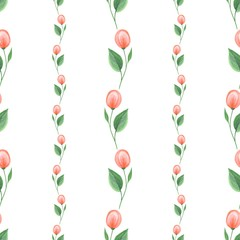 Romantic flowers. Hand drawn floral pattern. Seamless background 4