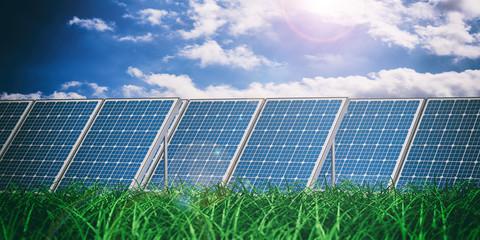 Solar panels on blue sky background. 3d illustration