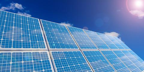Solar panels on sky background. 3d illustration