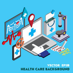 illustration of info graphic healthcare technology icons set concept in isometric 3d graphic
