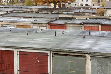 Old garages in line.