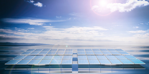 Solar panels on sea and sky background. 3d illustration