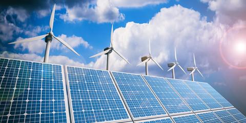 Solar panels and wind generators. 3d illustration