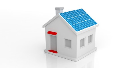 Small house with solar panels. 3d illustration