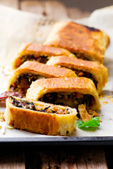 MUNG BEAN, MUSHROOM AND VEGETABLE STRUDEL.