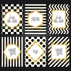 Collection of 6 vintage card templates  in black and white colors and with golden frame. For the wedding, marriage, save the date cards, invitations, greetings.