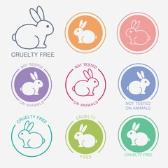 No animals testing icon design. Not tested sign. Animal cruelty free icon. Product not tested on animals symbol. Can be used as sticker, logo, stamp, icon. Vector illustration