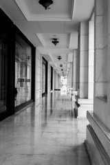 Corridor. Black and white.