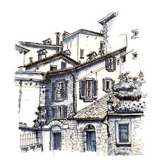 Medieval Upper town Citta alta of Bergamo, Lombardy, Italy. Picture made liner and markers