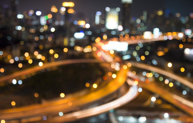 Bangkok route motorway at night cityscape abstract background bokeh night / illustrations.