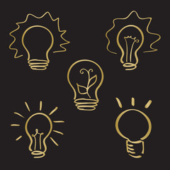 Sketch style hand drawn lightbulb icons