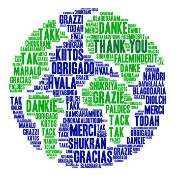 International Thank You word cloud. Each word used in this word cloud is another language's version of the word Thank You.