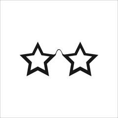 Stars glasses disco symbol silhouette icon on background