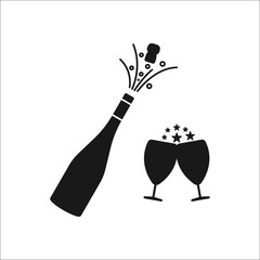 Champagne bottle explosion with cheering glasses symbol silhouette icon on background