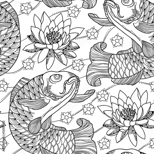 Vector Seamless Pattern With Outline Koi Carp And Lotus Or Water Lily In Black On The