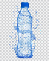 Transparent water splashes in blue colors around a plastic bottle with mineral water. Transparency only in vector file