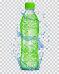 Transparent water splashes in blue colors around a plastic bottle with green juice. Transparency only in vector file