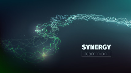 Vector abstract synergy concept. Teamwork llustration. Collective work. Programming flow