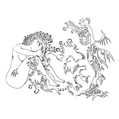 Mermaid woman with branch hair. World of Woman graphical art series. Vector Illustration