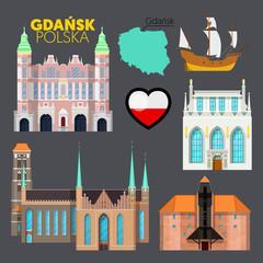 Gdansk Poland Travel Doodle with Gdansk Architecture, Ship and Flag. Vector illustration