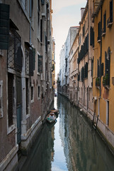 A canal in the Venetian Lagoon, Venice, UNESCO World Heritage Site, Veneto, Italy, Europe