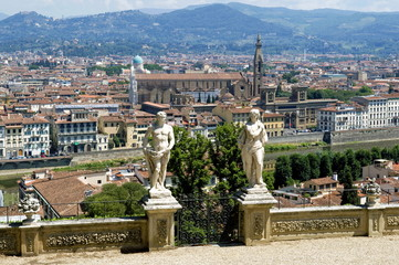Panoramic view over River Arno and Florence from the Bardini Gardens, Bardini Garden, Florence (Firenze), Tuscany, Italy, Europe