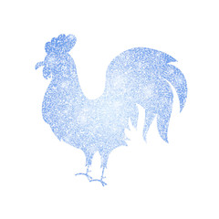 Frozen Silver Rooster Silhouette