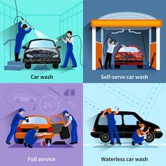 Car Wash Service 4 Flat Icons
