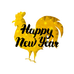Happy New Year Rooster with Gold