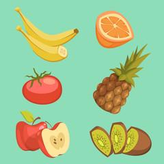 Healthy Food Cartoon Set