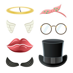 Cartoon style accessories (mustache, glasses, hat, lips, angel wings, halo). Vector illustration.