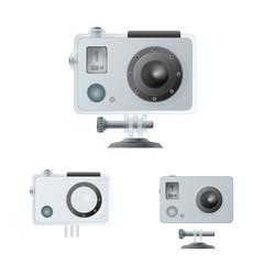 Action camera and waterproof box. Vector illustration.
