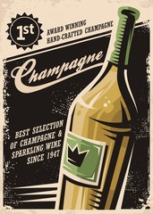 Champagne vintage poster design with bottle and creative typo on dark background