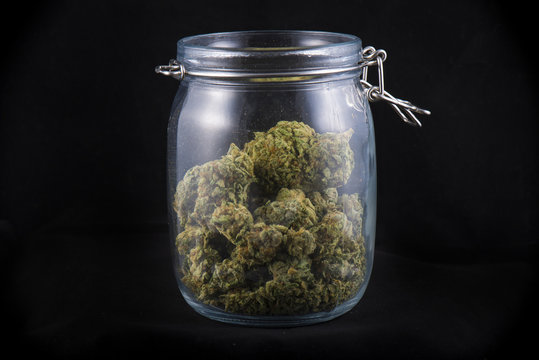 Cannabis bud in a glass jars isolated on black - medical marijua