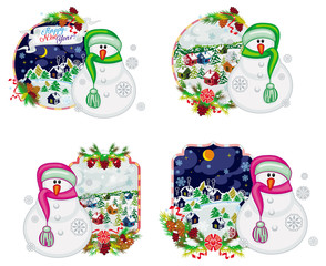 Set of holiday labels with happy snowman in funny hat and scarf.