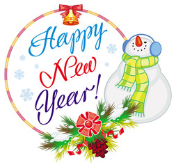 "Winter holiday label with snowman and greeting text: ""Happy New Year!""."