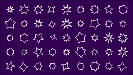 collection of squiggly hand-drawn stars: vector graphic of quadrangular, pentagonal, hexagonal, heptagonal, octagonal and nonagonal stars in various shapes