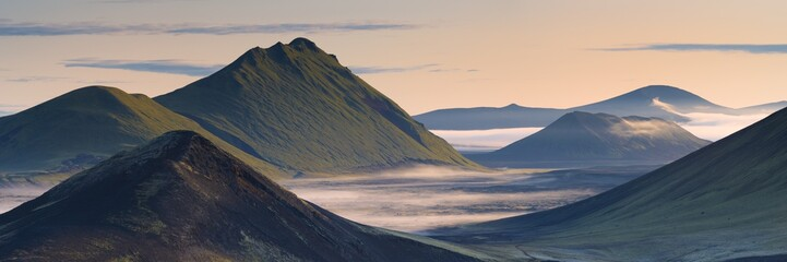 Hilltops and lava fields in Nordunamshraun, seen from Namshraun, Landmannalaugar area, Fjallabak region, Iceland